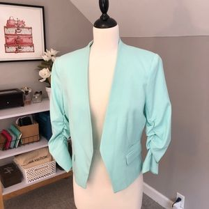 Aqua Ruched Sleeve H&M Cropped Blazer
